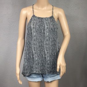 Bishop + Young Black & White Striped Tank Top XS